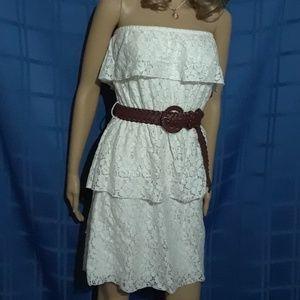 Strapless ivory lace ruffled dress